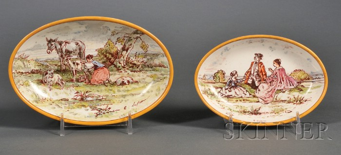 Two Wedgwood Lessore Decorated Queen's Ware Deep Dishes