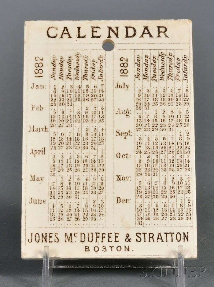 Wedgwood Queen's Ware 1882 Calendar Tile