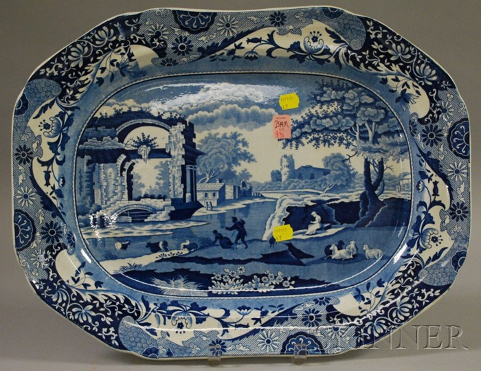 English Blue and White Scenic Transfer-decorated Staffordshire Platter