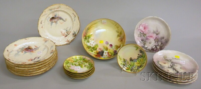 Three Sets of Hand-painted Porcelain Tableware