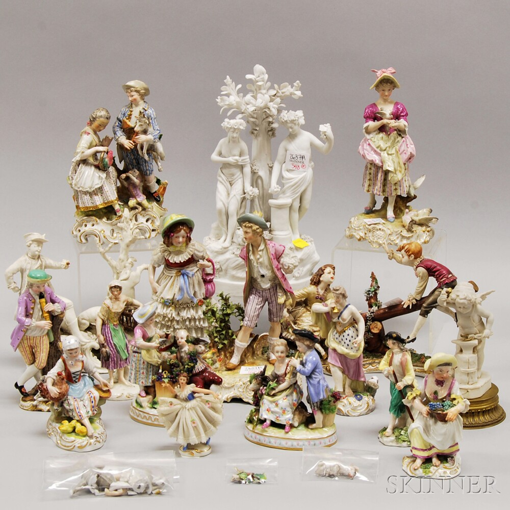 Seventeen Assorted Mostly European Hand-painted Porcelain Figures and Figural   Groups