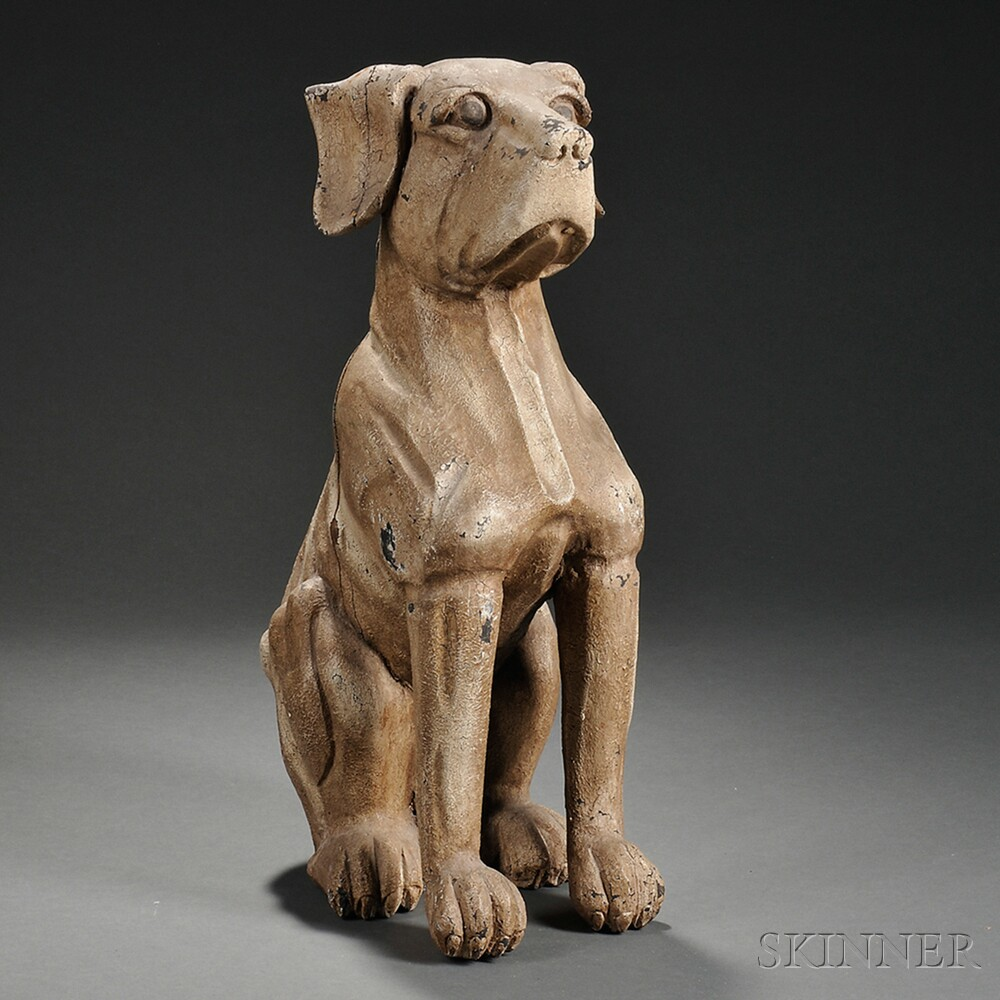Painted and Carved Composition Sitting Dog Figure