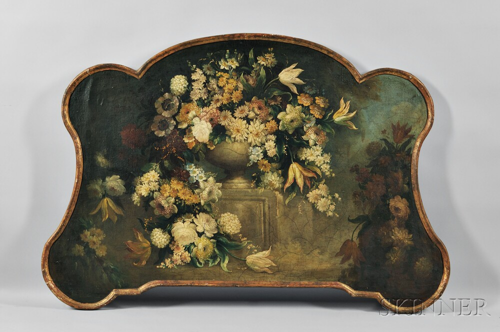 Continental School, 19th Century      Floral Still Life in a Shaped Frame