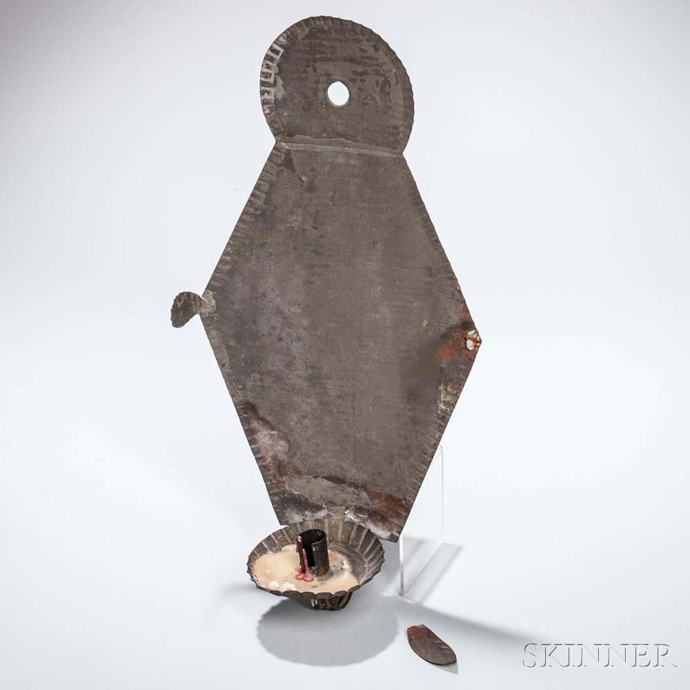 Diamond-shaped Crimped Tinned Sheet Iron Sconce