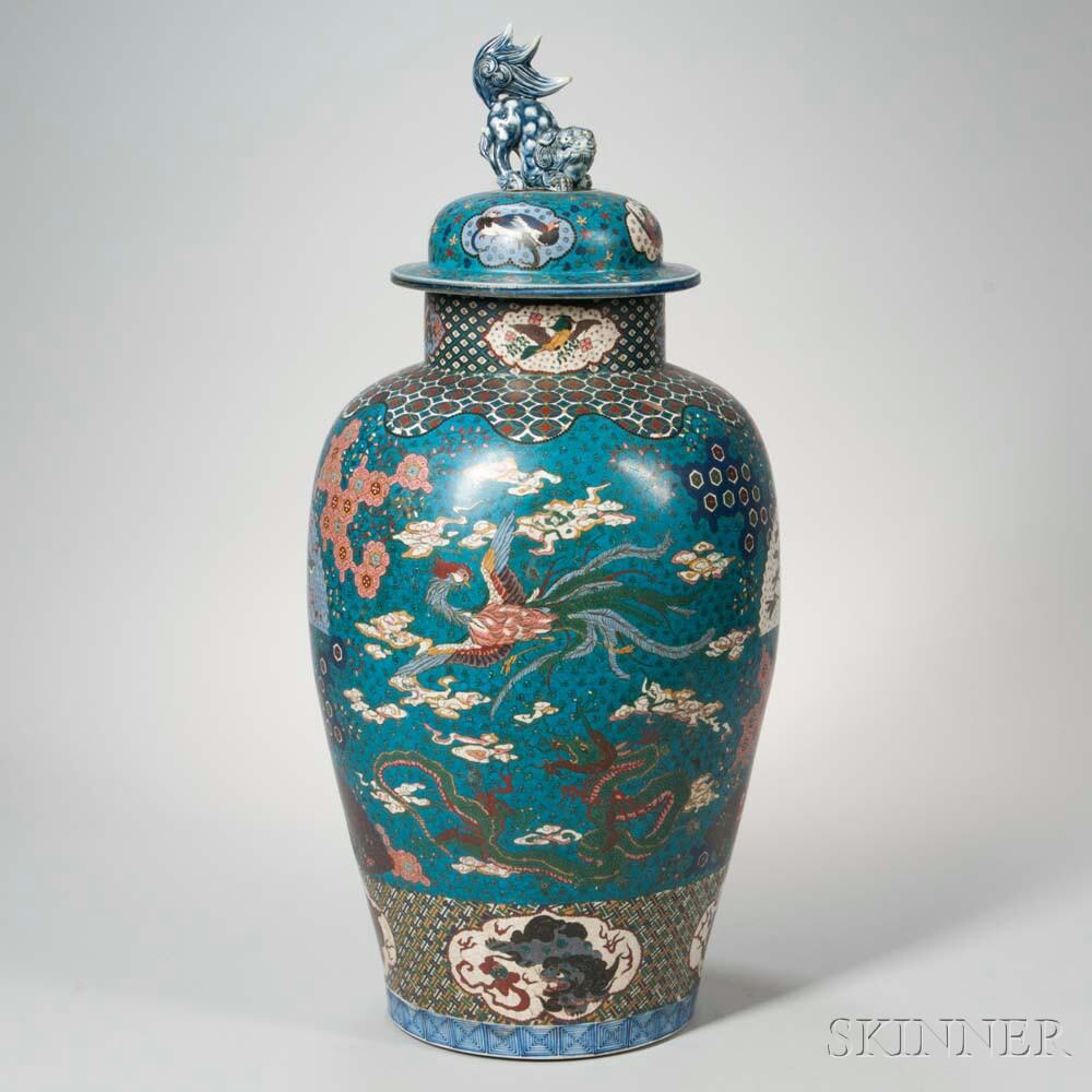 Large Cloisonne on Porcelain Covered Jar