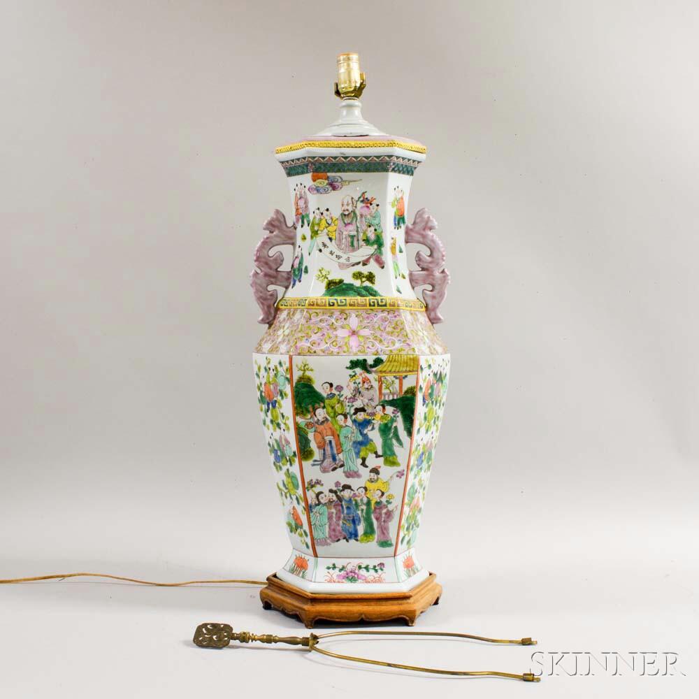 Large Chinese Export Famille Rose Porcelain Vase