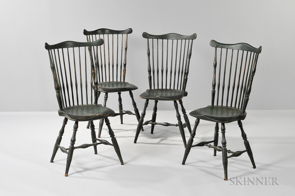 Set of Four Green-painted Windsor Fan-back Side Chairs