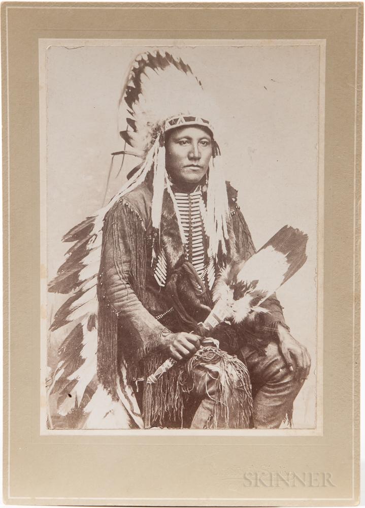 Cabinet Card Photo, Poor Buffalo, Kiowa Warrior