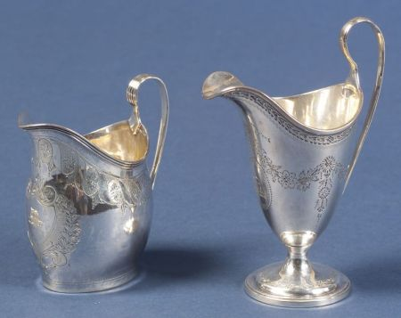 Two George III Bright-cut Silver Creamers