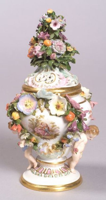 Meissen Porcelain Potpourri Vase and Cover