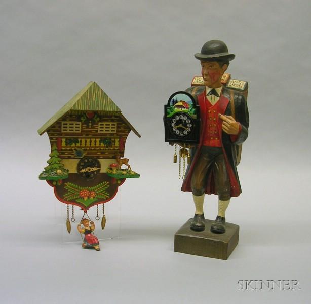Griesbaum Whistler Clock Peddler and a German Chalet Wall Clock