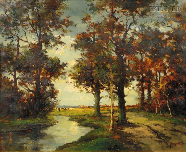 Carel Cornelius Verschuur Bouter (Dutch, 1888-1966)      River View with Distant Cattle