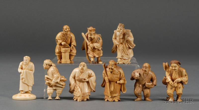 Nine Small Ivory Carvings