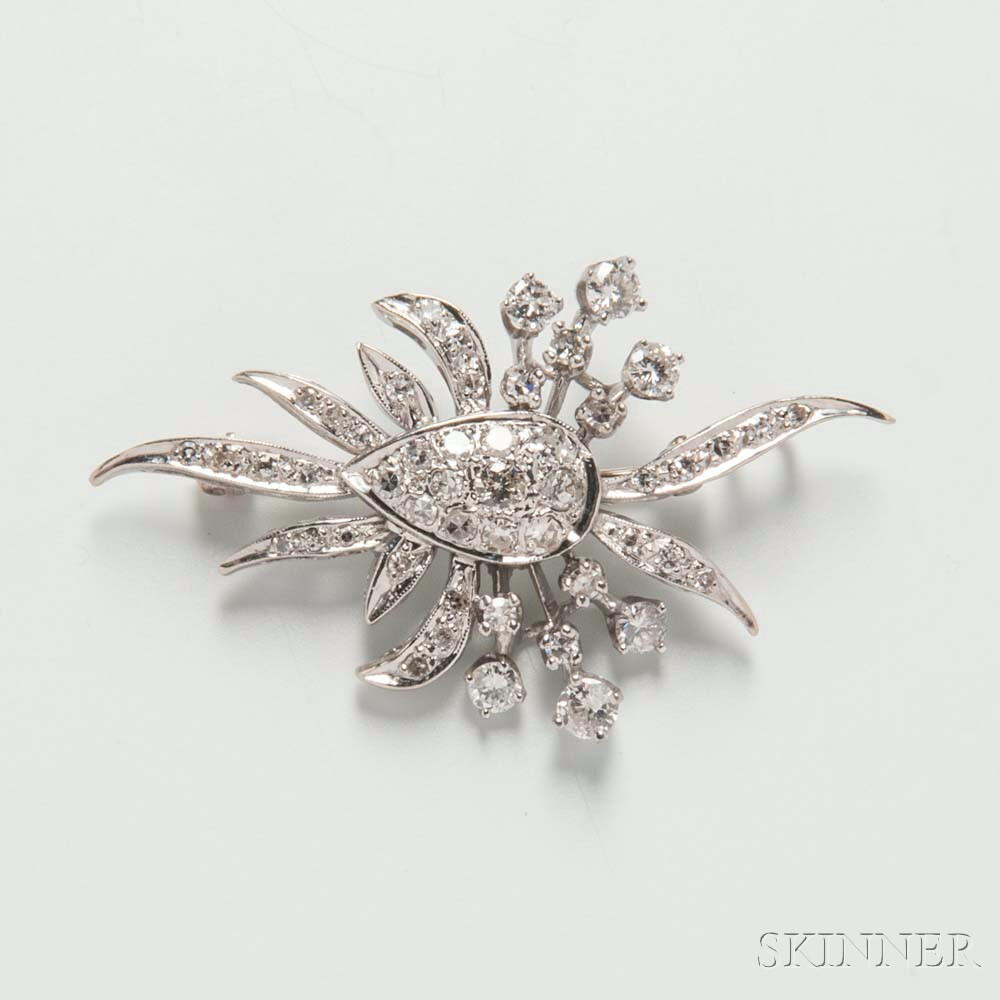 14kt White Gold and Diamond Pendant/Brooch