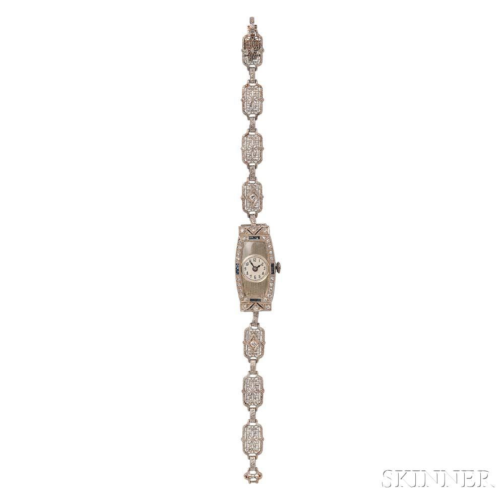 Art Deco Lady's 18kt White Gold and Diamond Wristwatch