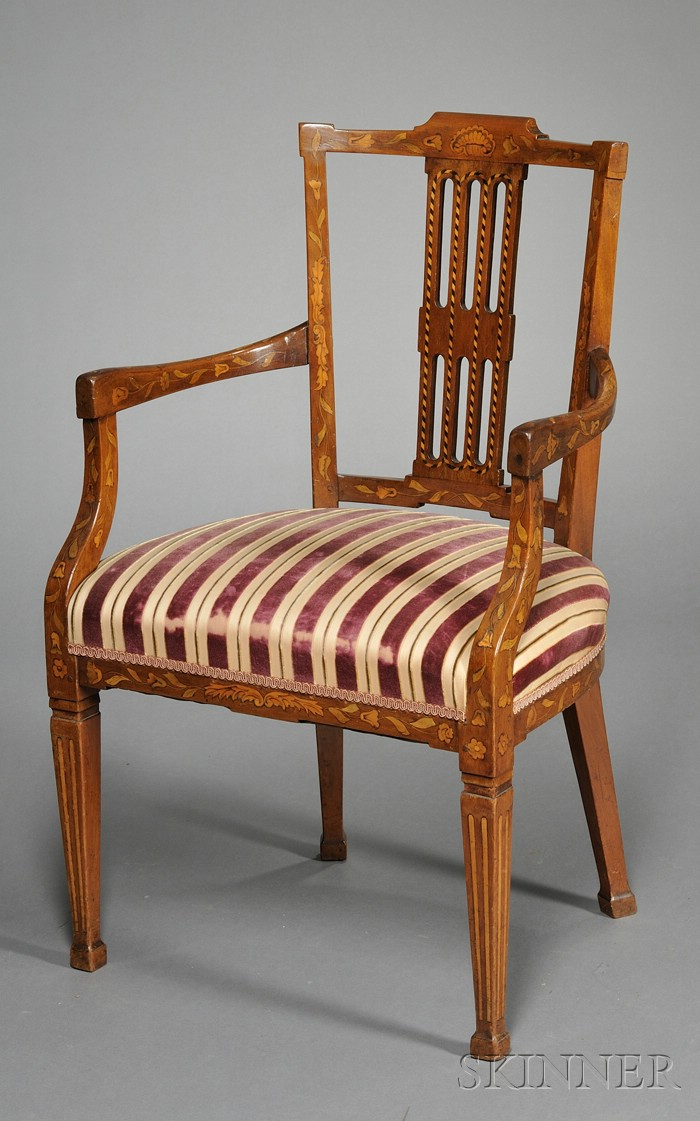 Dutch Neoclassical Fruitwood Marquetry-inlaid Armchair