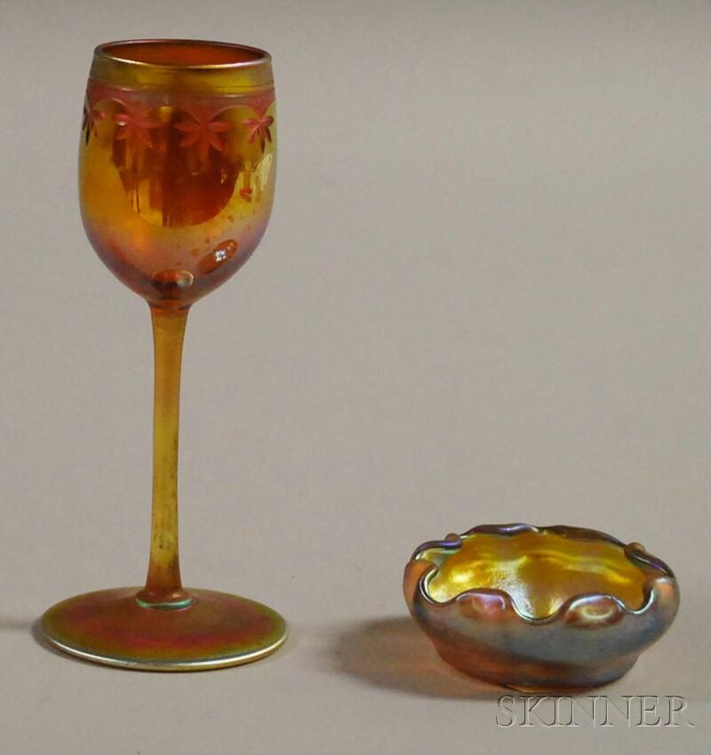 Tiffany Gold Favrile Art Glass Wine Stem and a Master Salt