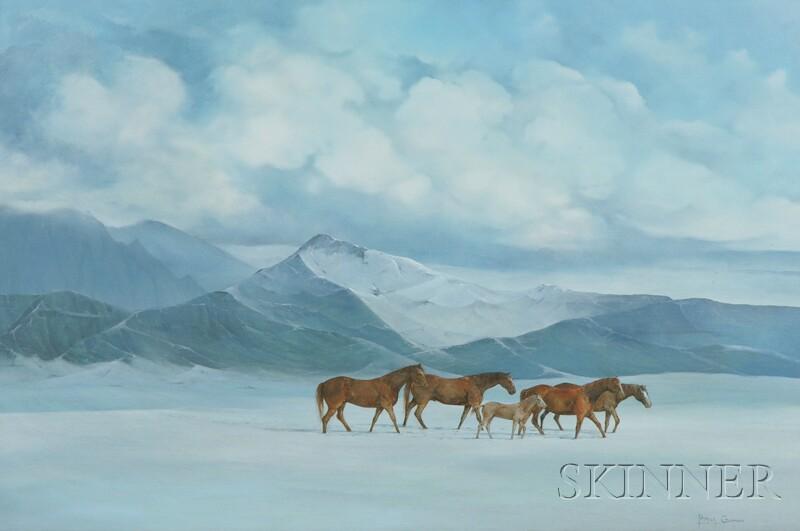American School, 20th Century      Horses in a Winter Mountain Landscape