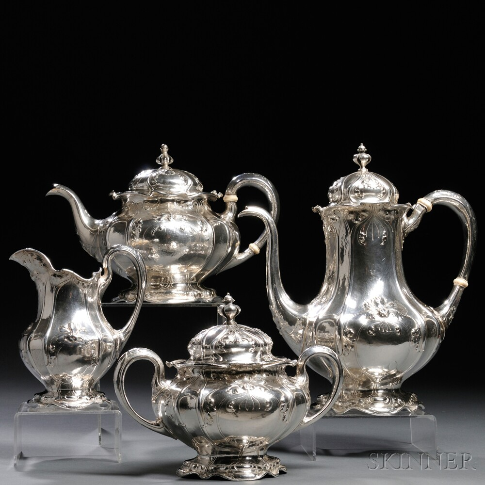 Four-piece Gorham Martele .9584 Silver Tea and Coffee Service