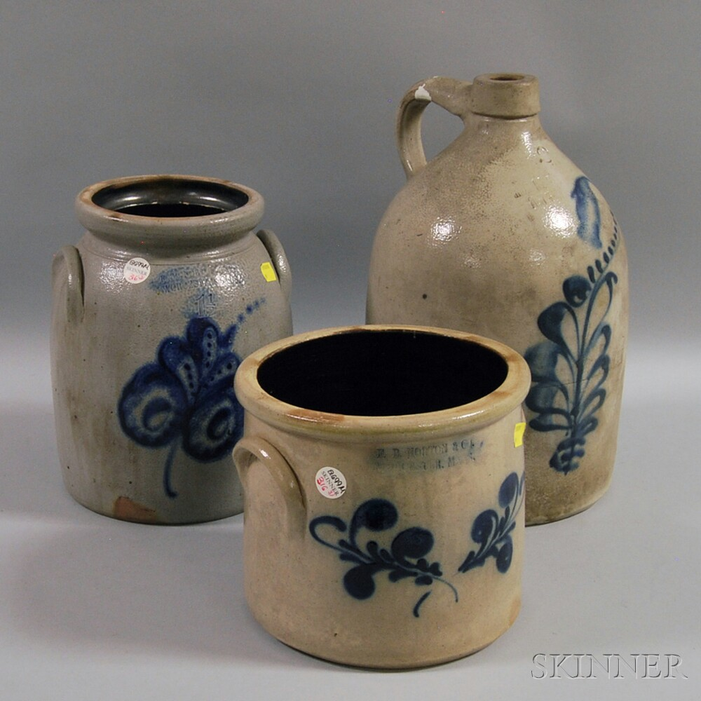 Three Cobalt-decorated Stoneware Vessels