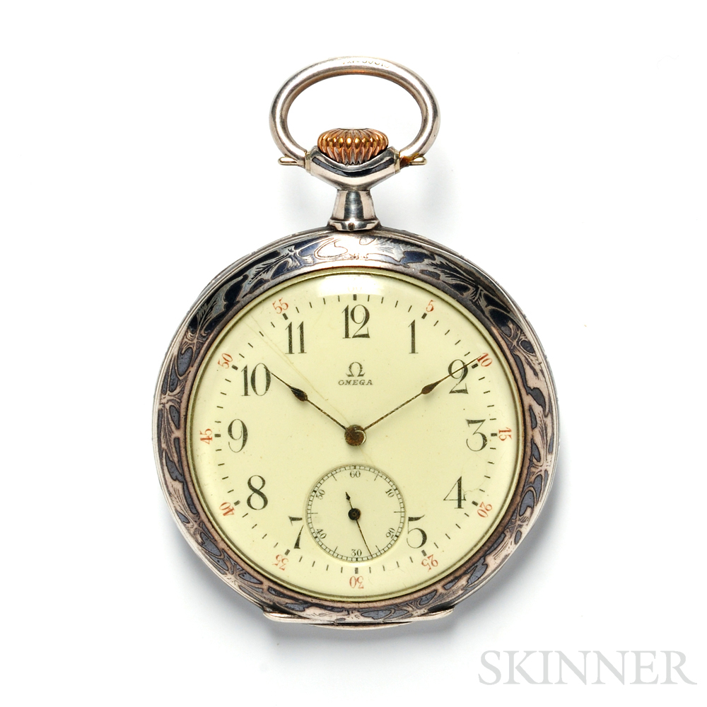 Silver Open Face Pocket Watch, Omega