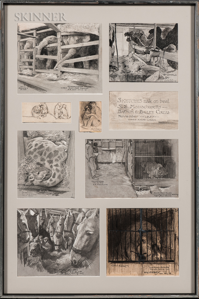 Corwin Knapp Linson (American, 1864-1959) Sketches made on board S.S. Massachusetts - Barnum & Baily Circus/A Series of Original Drawin