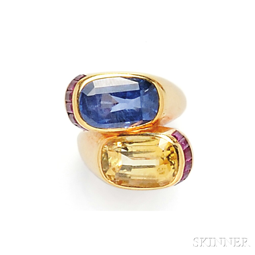 14kt Gold, Sapphire, and Ruby Bypass Ring