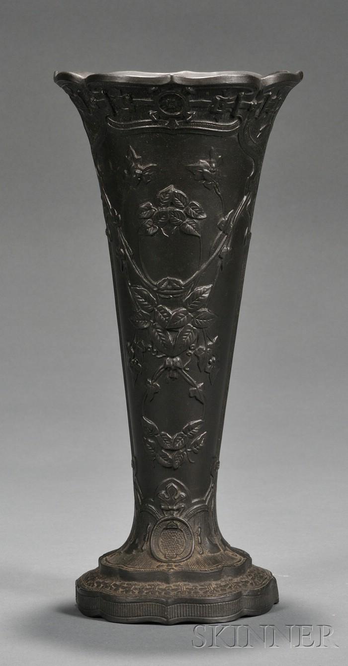 Wedgwood Black Basalt Trumpet Vase