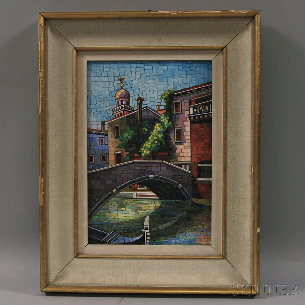 Framed Mosaic Glass Picture of Venice
