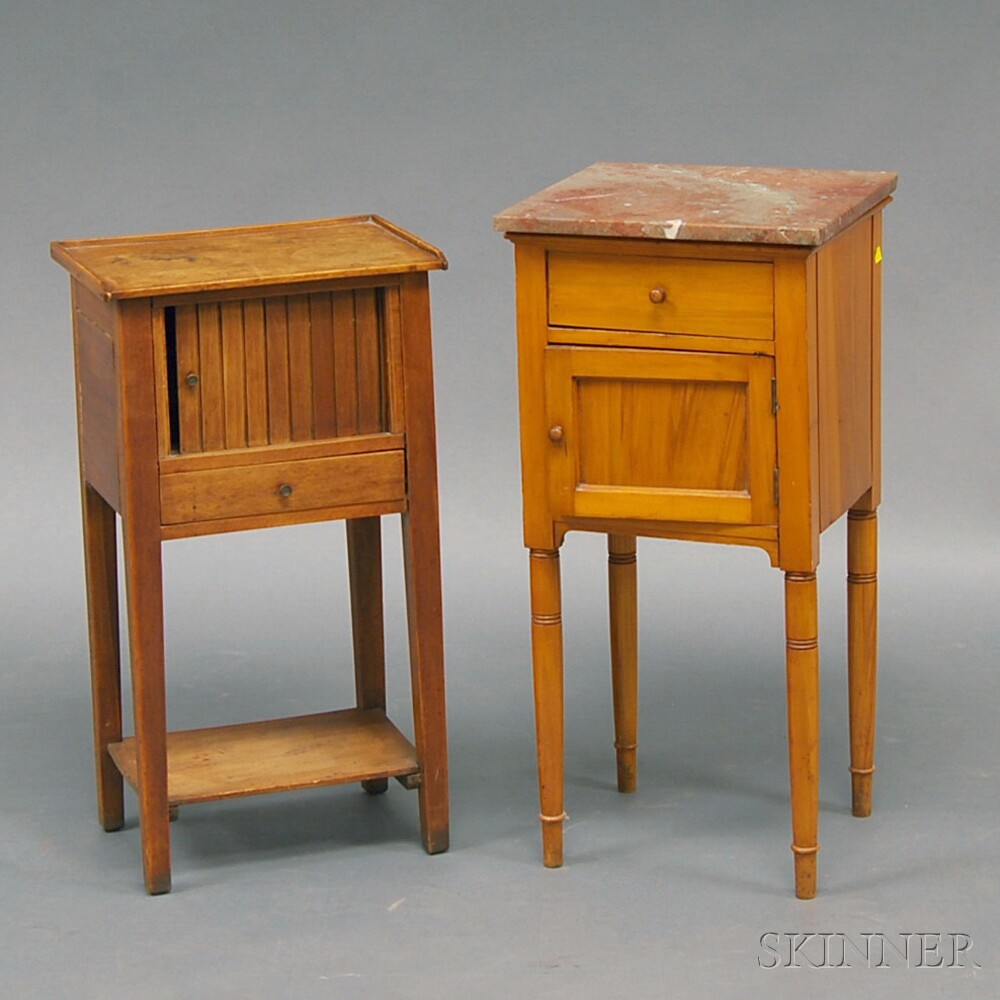Marble-top Fruitwood One-drawer Washstand