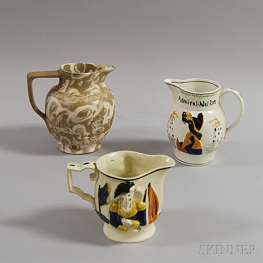 Three English Pottery Pitchers