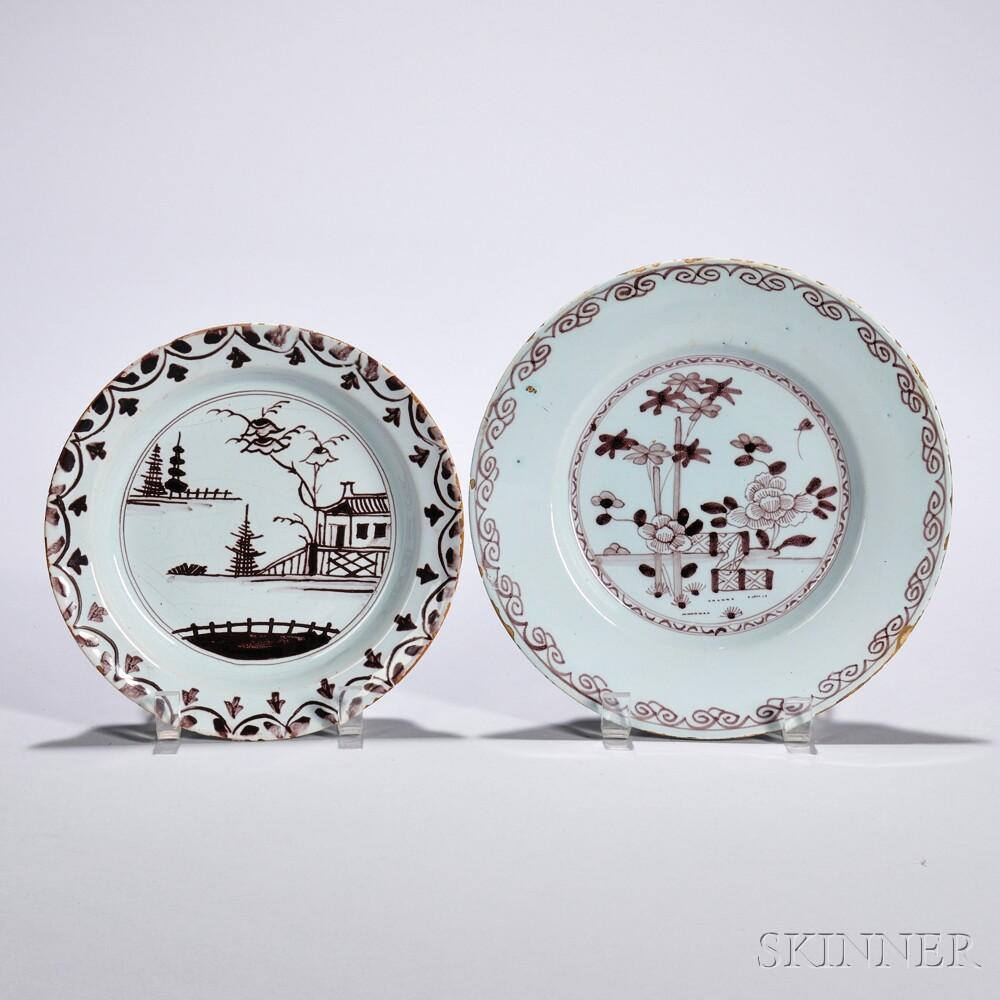 Two Tin-glazed Earthenware Plates