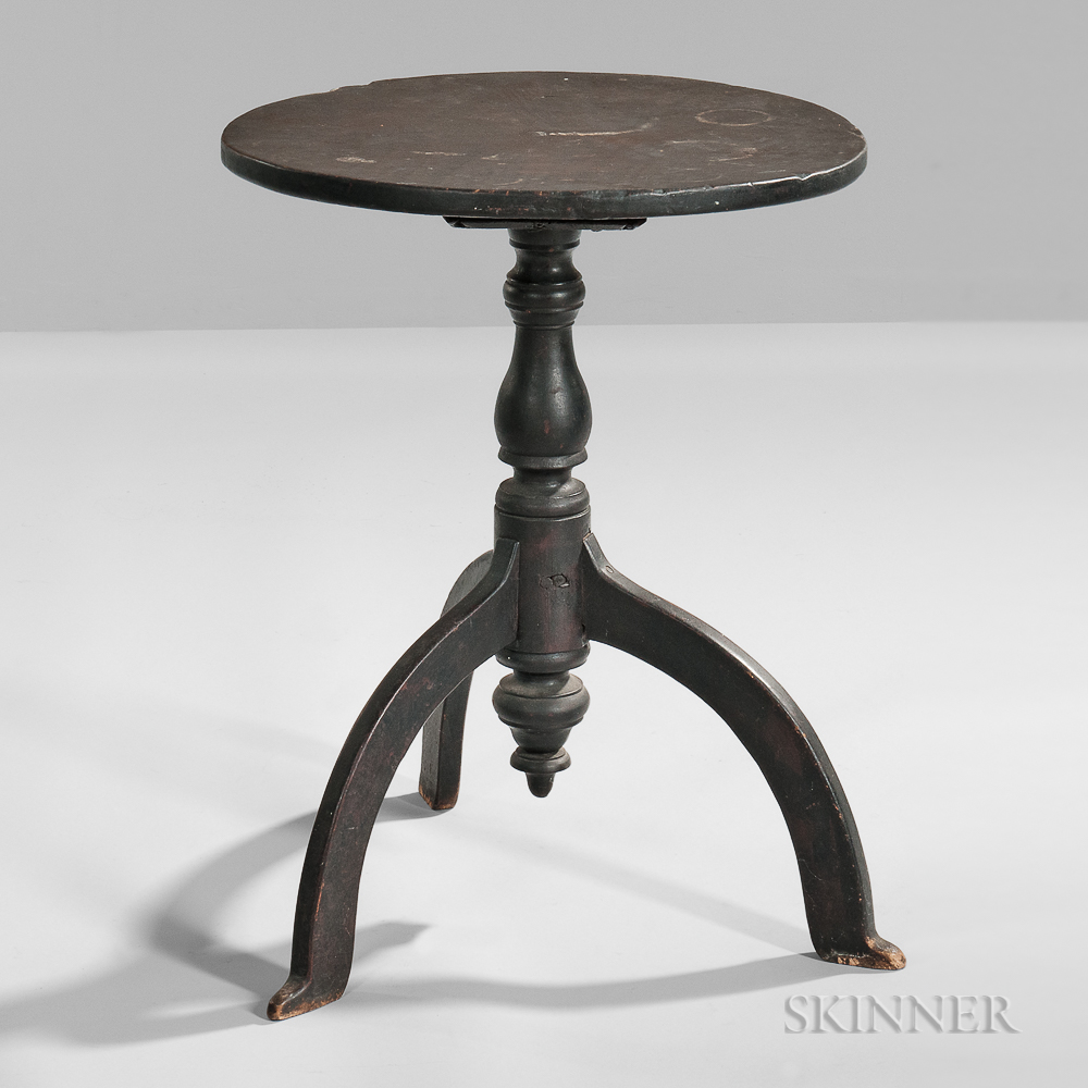Black-painted Maple Candlestand