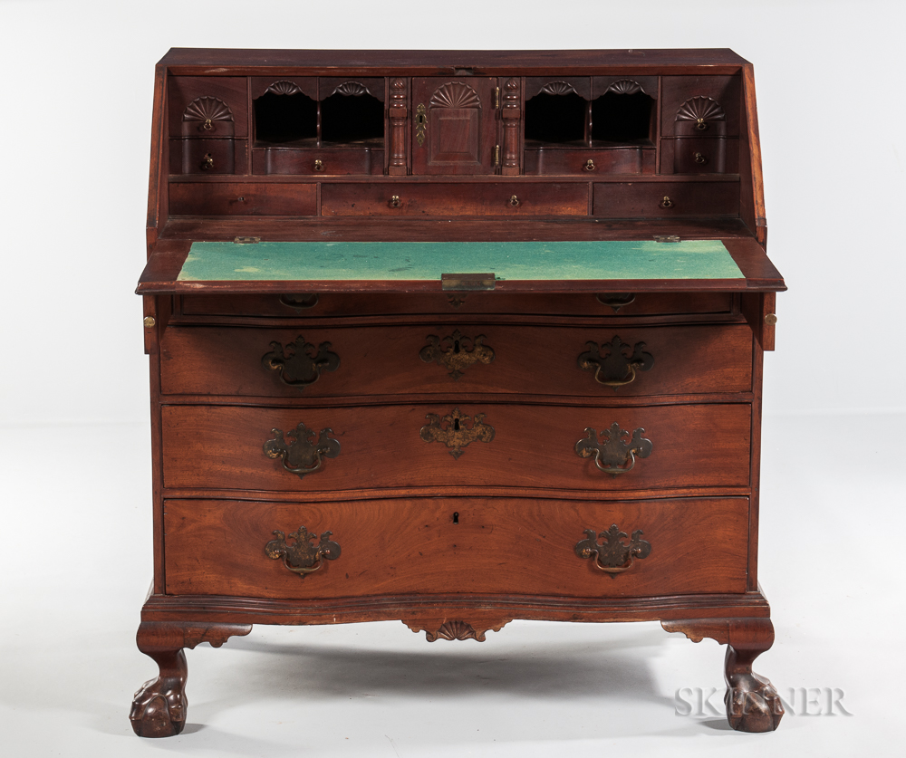 Carved Mahogany Reverse Serpentine Slant-lid Desk