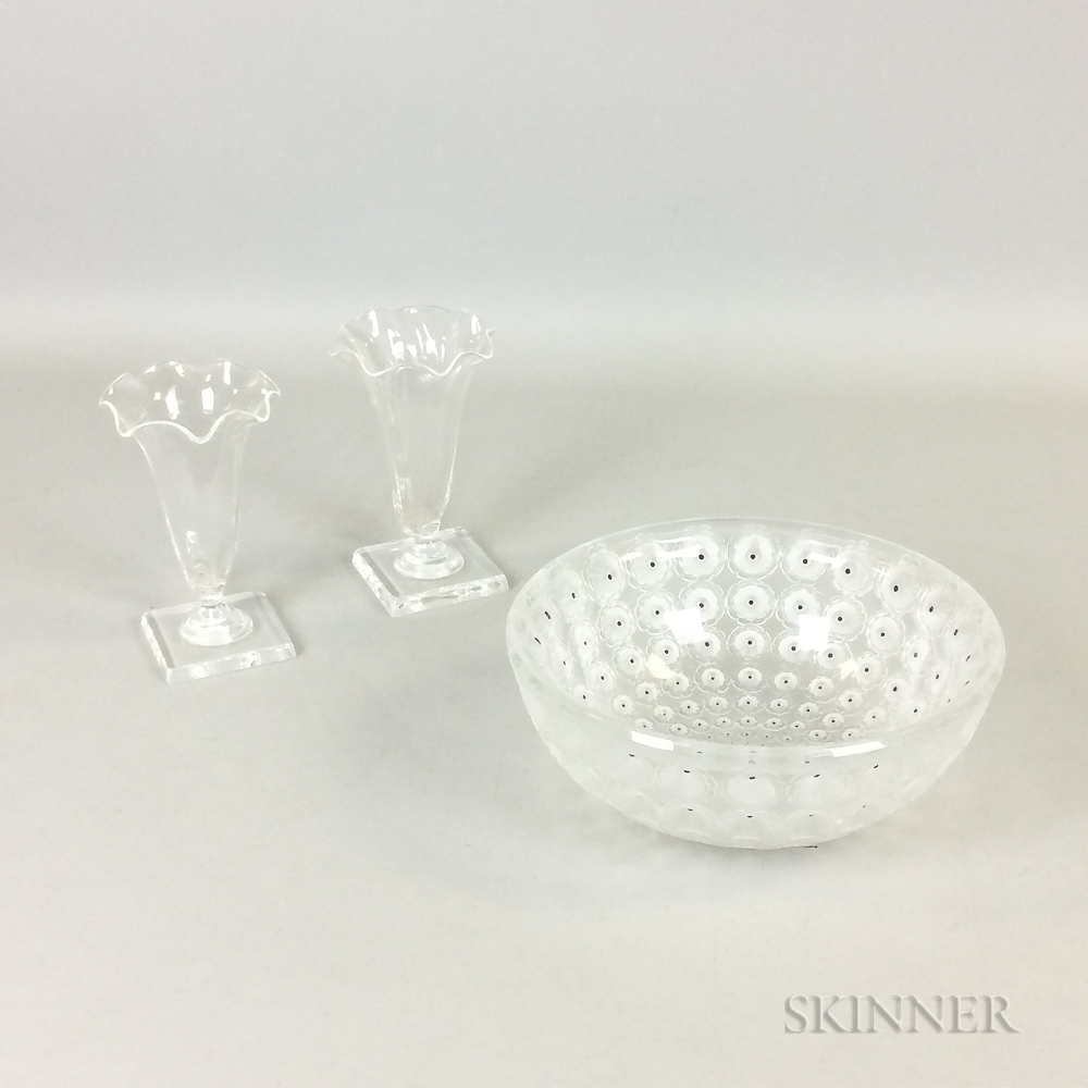 """Lalique """"Nemours"""" Frosted Glass Bowl and a Pair of Steuben Colorless Glass Cornucopia Vases"""