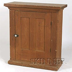 Pine Red-Stained Hanging Cupboard,
