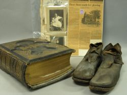 General Israel Putnam Leather Ploughing Shoes, Putnam Family Bible and Photographs.