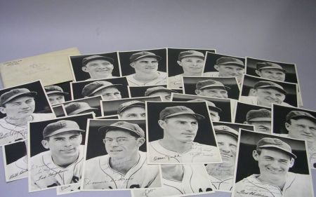 Set of Twenty-three Autographed 1942 Boston Red Sox Player Photographs