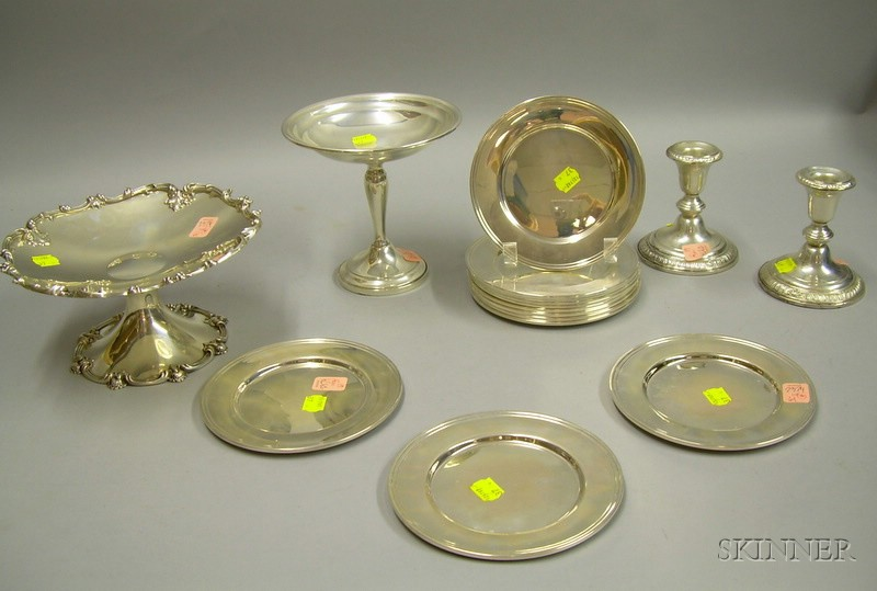 Two Sterling Silver Compotes, a Pair of Candleholders, and a Set of Twelve Alvin Bread and Butter Plates.e2...