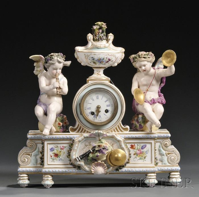 German Porcelain Figural Mantel Clock