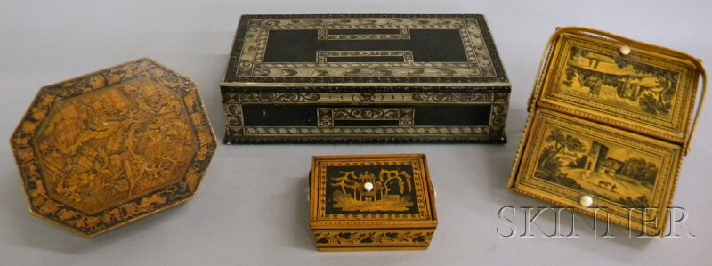 Four Penwork-decorated Wooden Boxes