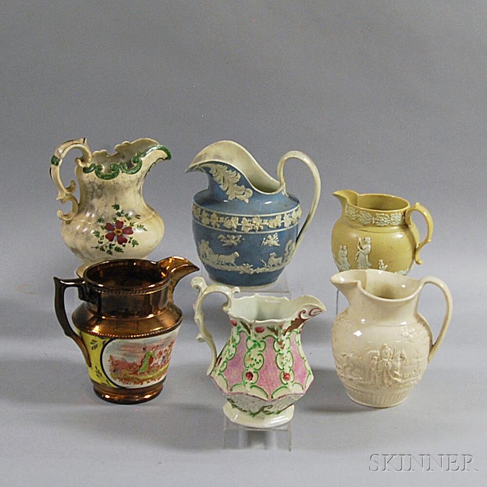 Six Assorted English Pottery Pitchers