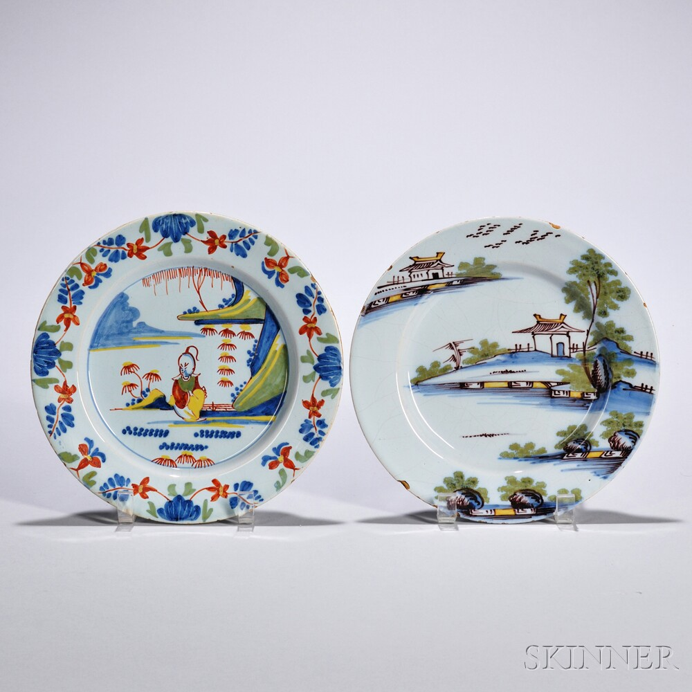 Two Tin-glazed Earthenware Polychrome Decorated Plates