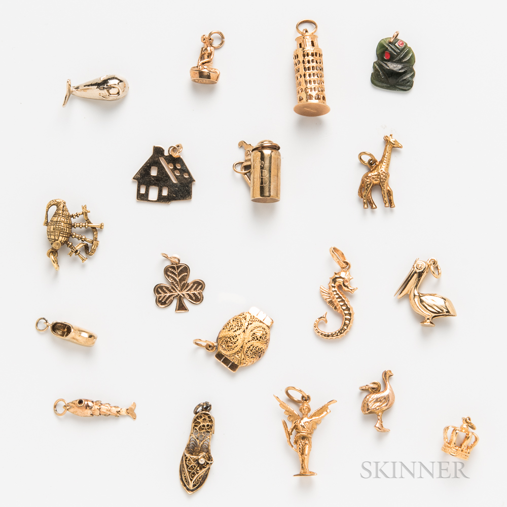 Group of Gold and Gold-filled Figural Charms