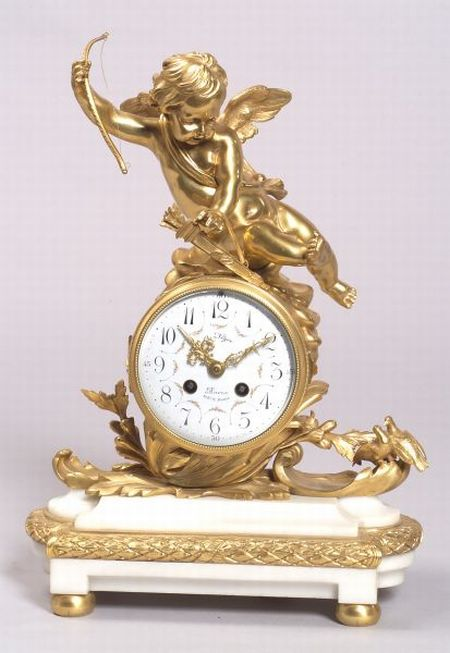 French Louis XV-style Gilt Bronze and White Marble Mantel Clock