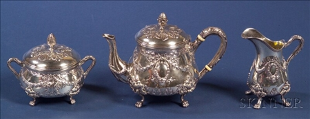 Classical-style Assembled Three Piece Silver Tea Set