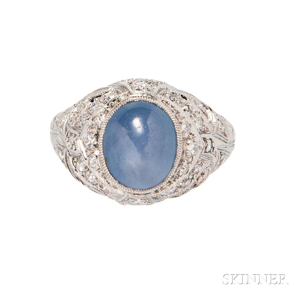 Art Deco Platinum and Star Sapphire Ring