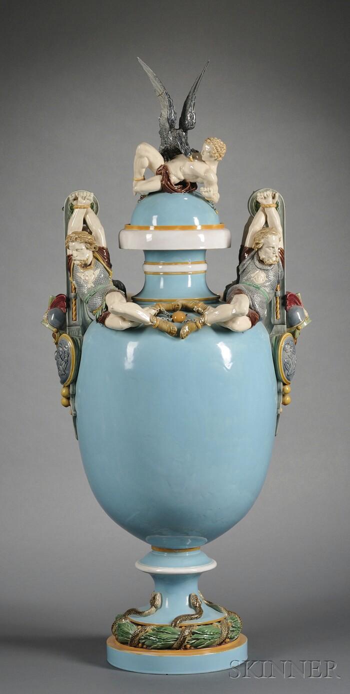 Minton Majolica Prometheus Bound Vase and Cover