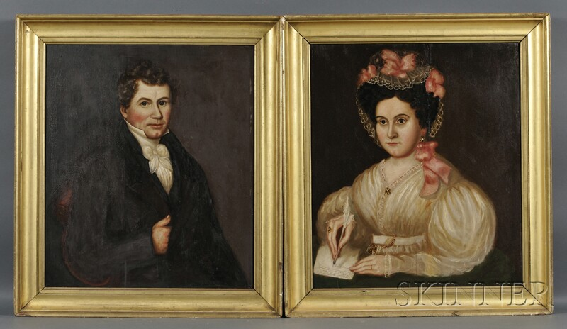 Attributed to Susanna Paine (ac. New England, 1792-1862)      Pair of Portraits of a Young Husband and His Wife.