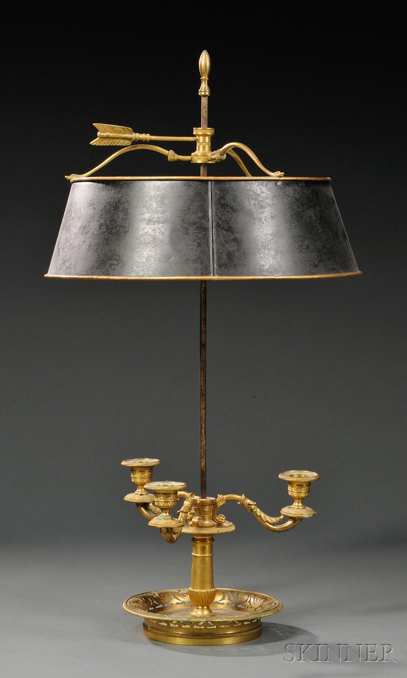 Three-arm Gilt-brass Bouillotte Lamp